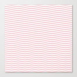 White and Light Millennial Pink Pastel Color Chevron Stripe Canvas Print