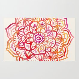 Watercolor Medallion in Sunset Colors Rug
