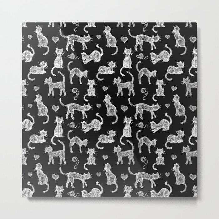Teacher's Pet - chalk board cat pattern - white on black Metal Print