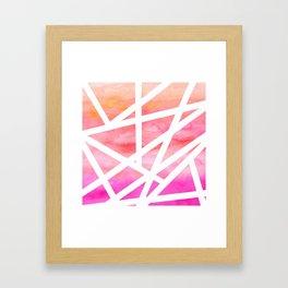 Modern handdrawn stripes geometric pink watercolor Framed Art Print
