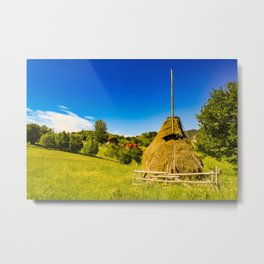 Haystack in the Carpathians of Romania Metal Print