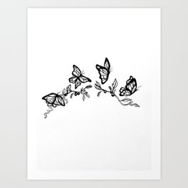 Butterflies and Vines Art Print