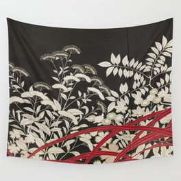 Kuro-tomesode with a Pair of Pheasants in Hiding (Japan, untouched kimono detail) Wall Tapestry