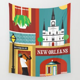 New Orleans, Louisiana - Collage Illustration by Loose Petals Wall Tapestry