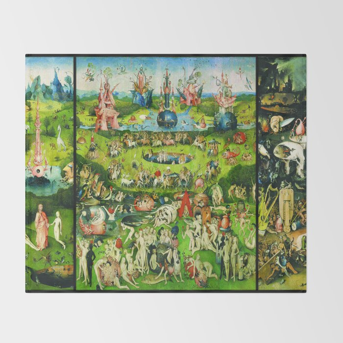 The Garden of Earthly Delights Triptych by Hieronymus Bosch Throw Blanket  by historystuff