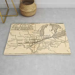 Map of the Toledo, Wabash, and Gt. Western Rail Road Line Rug