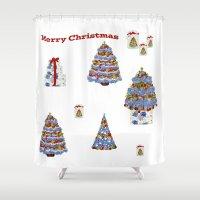 cape cod Shower Curtains featuring Merry Christmas Cape Cod by KarenHarveyCox