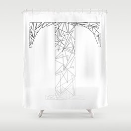 ''Geometry Collection'' - Minimal Letter T Print Shower Curtain