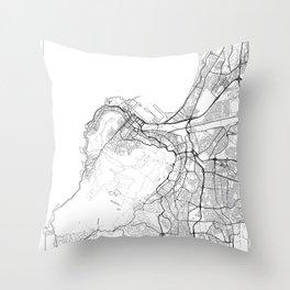 Cape Town Map White Throw Pillow