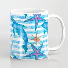 Watercolor Dolphin Pattern Coffee Mug