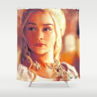 mother of dragons Shower Curtains featuring Mother of Dragons by markclarkii