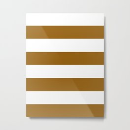 Wide Horizontal Stripes - White and Golden Brown Metal Print