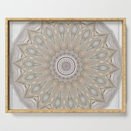 Country Style Mandala Over White Wood Serving Tray