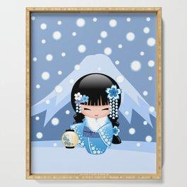 Japanese Winter Kokeshi Doll at Blue Mountain Serving Tray