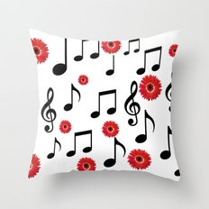 Musical Notes & Red Gerberas Throw Pillow