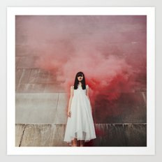 Red smoke Art Print