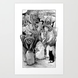 Three Wise Zombies Grayscale Art Print