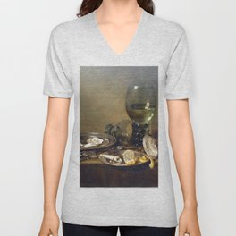 Willem Claeszoon Heda - Still Life with Oysters, a Silver Tazza, and Glassware Unisex V-Neck