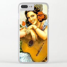 Mexican Calendar Girl with Guitar by Jesus Helguera Clear iPhone Case