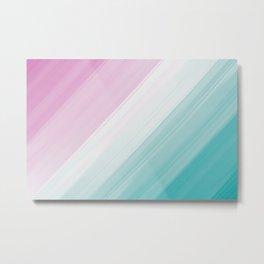 Pastel Pink, White & Cyan Brush Stroke Stripes Pattern Metal Print