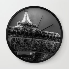 Eiffel Tower 2 (Black and White) Wall Clock