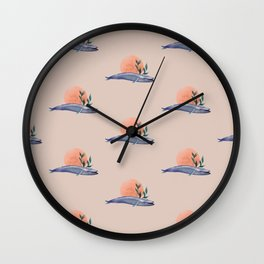 Blue whale sunset Wall Clock
