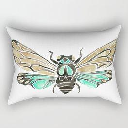 Summer Cicada – Mint & Tan Palette Rectangular Pillow