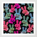Cute Bunnies on Black by fluffshop