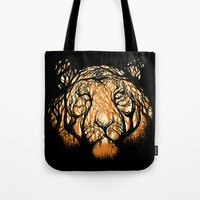 hunter Tote Bags featuring Hidden Hunter by carbine