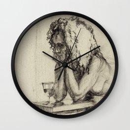 'The Unwinding' Charcoal Drawing Nude woman drinking Wine Wall Clock
