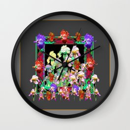 Charcoal Grey Colors  Iris Garden  GreenPattern Wall Clock