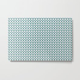 Tropical Dark Teal V Shape Horizontal Line Pattern Inspired by Sherwin Williams 2020 Trending Color Oceanside SW6496 on Off White Metal Print