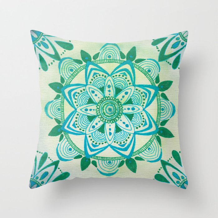 Simpe Bluegreen Mandala Throw Pillow By Kristylingebach
