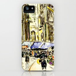 "Paul Signac ""Tréguier, le marché"" iPhone Case"