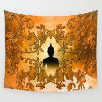 buddha Wall Tapestries featuring Buddha  by nicky2342