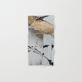 Still: an abstract mixed media piece in black, white, and gold by Alyssa Hamilton Art Hand & Bath Towel