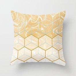 Geometric Effect Caramel Marble Design Throw Pillow