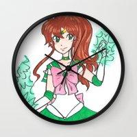 sailor jupiter Wall Clocks featuring Sailor Jupiter by StarShineSoldier