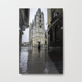 Leon Cathedral in the Rain Metal Print