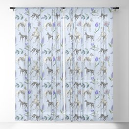 GREYHOUND  DOGS & BLUE MEADOW Sheer Curtain