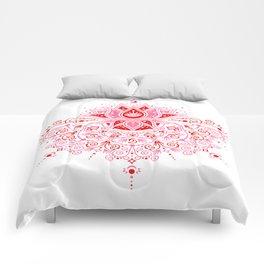 Lotus Blossom Mandala – Red & Pink Palette Comforters