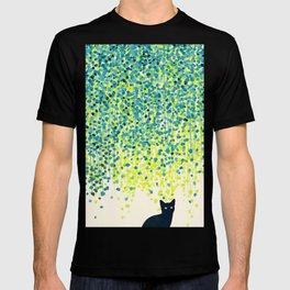 Cat in the garden under willow tree T-shirt