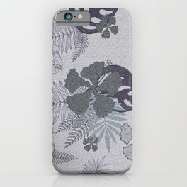 Blue gray palm leaves and hibiscuses. iPhone Case