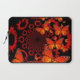 Awesome Decorative Monarch Butterflies on Black Laptop Sleeve