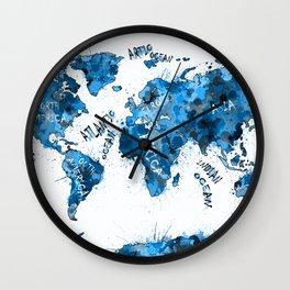 world map color splatter blue Wall Clock