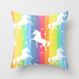 Rainbow Unicorns Throw Pillow