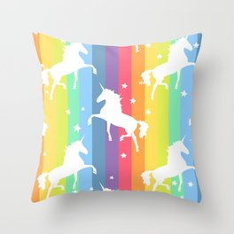 Rainbow Unicorns Throw Pillow