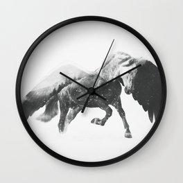 Pegasus (Black & White) Wall Clock