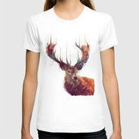 animal crew T-shirts featuring Red Deer // Stag by Amy Hamilton