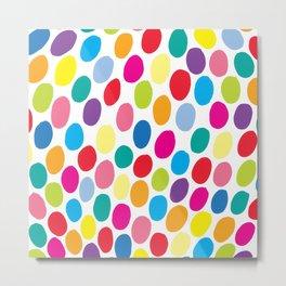 Colour Spots White Metal Print